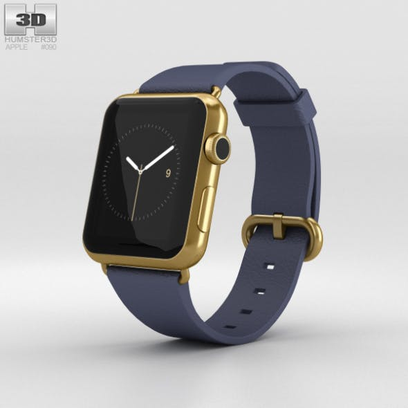 Apple Watch Edition 42mm Yellow Gold Case Blue Classic Buckle - 3DOcean Item for Sale
