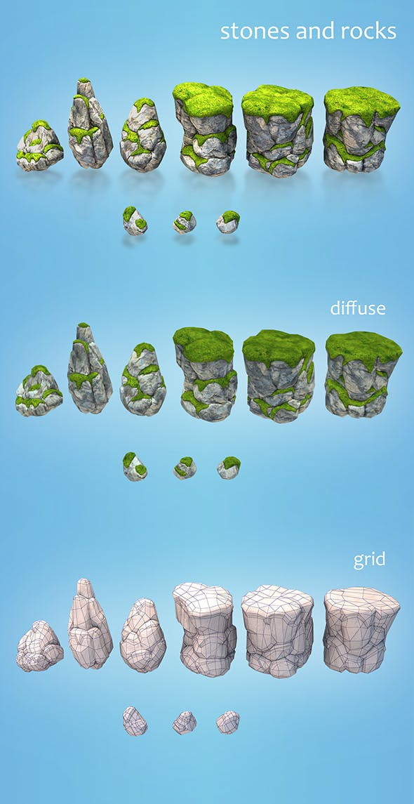 low poly stones and rocks - 3DOcean Item for Sale