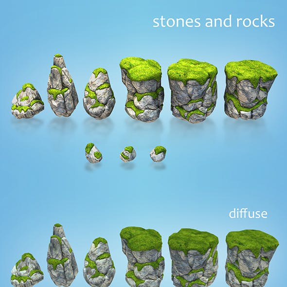 low poly stones and rocks