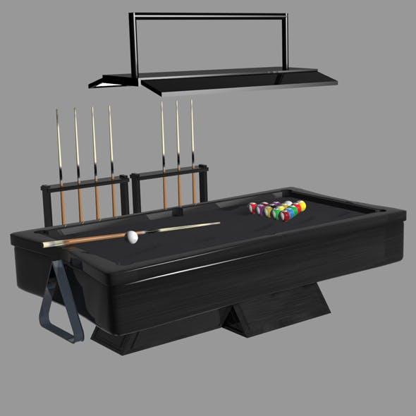 billiard set (table, 15 balls, lamp, stick)