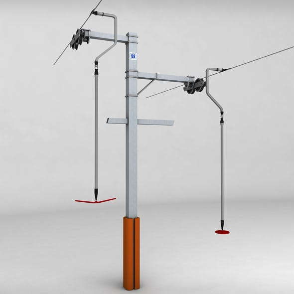 Ski lift pole rod