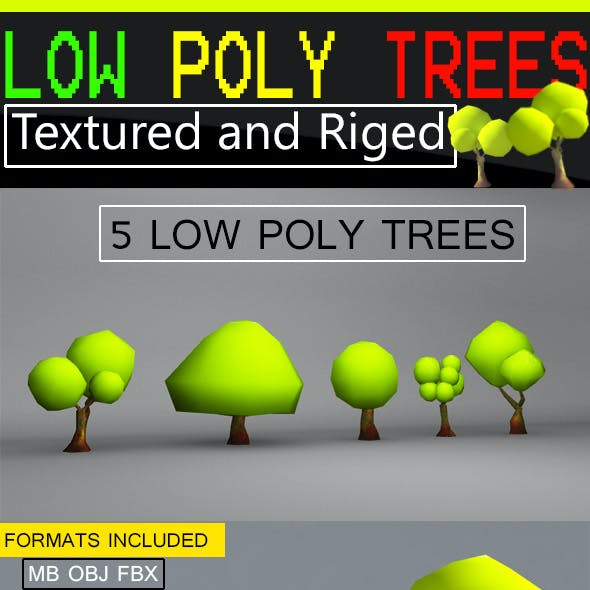 Low Poly Trees - Textured and Riged