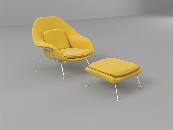 Womb Chair And Ottoman - 3DOcean Item for Sale