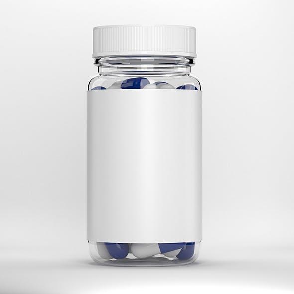 Glass pill bottle - 3DOcean Item for Sale