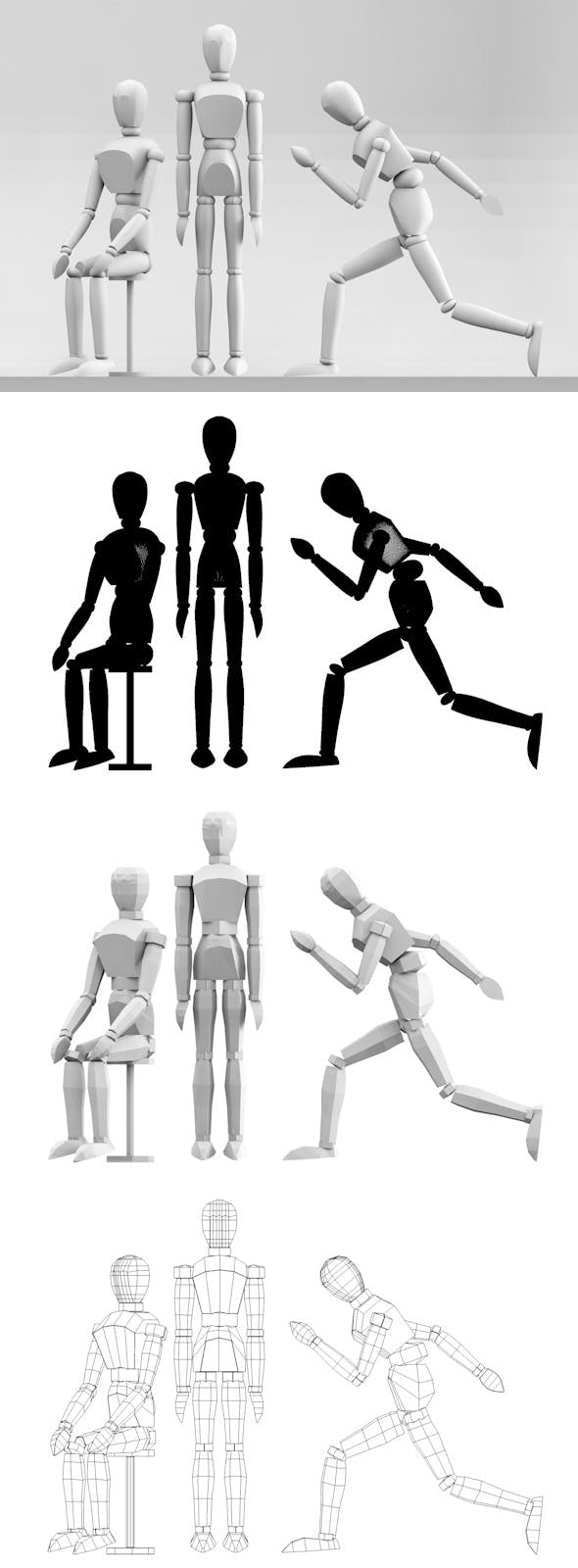 Low Poly Mannequin Postures - 3DOcean Item for Sale