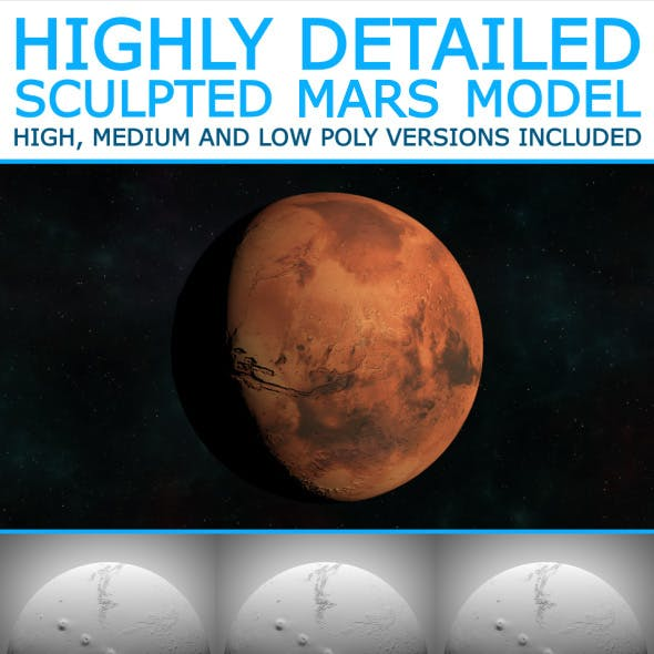 Mars - High Poly Sculpted Model