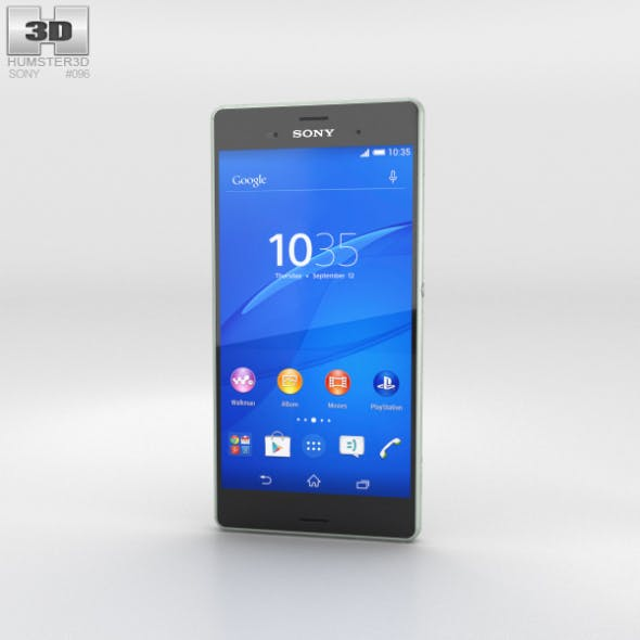 Sony Xperia Z3 Silver Green - 3DOcean Item for Sale