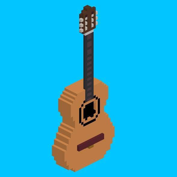 Voxel Modern Acoustic Guitar - 3DOcean Item for Sale