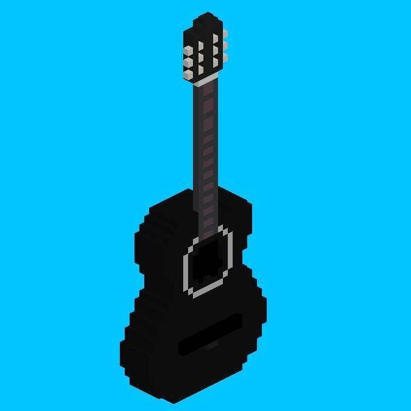 Voxel Black Acoustic Guitar - 3DOcean Item for Sale