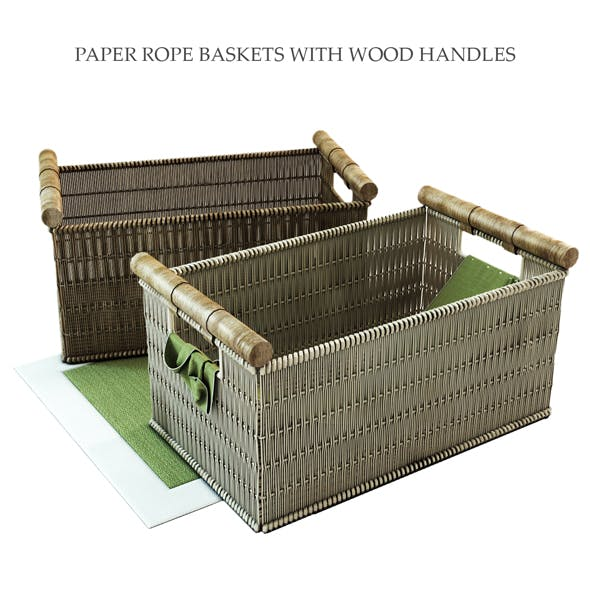 PAPER ROPE BASKETS WITH WOOD HANDLES