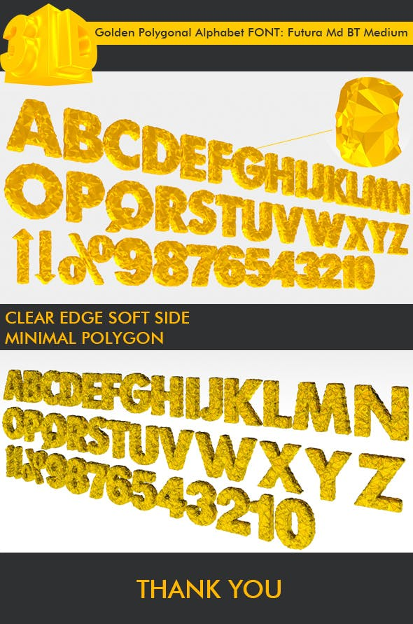 3D Golden Polygonal Alphabet (39 PCS) - 3DOcean Item for Sale