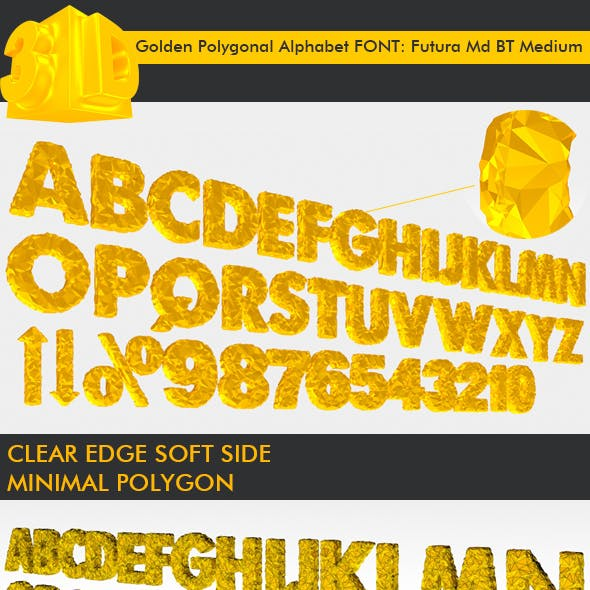 3D Golden Polygonal Alphabet (39 PCS)