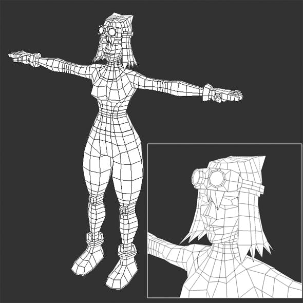 Low Poly Female Video Game Model