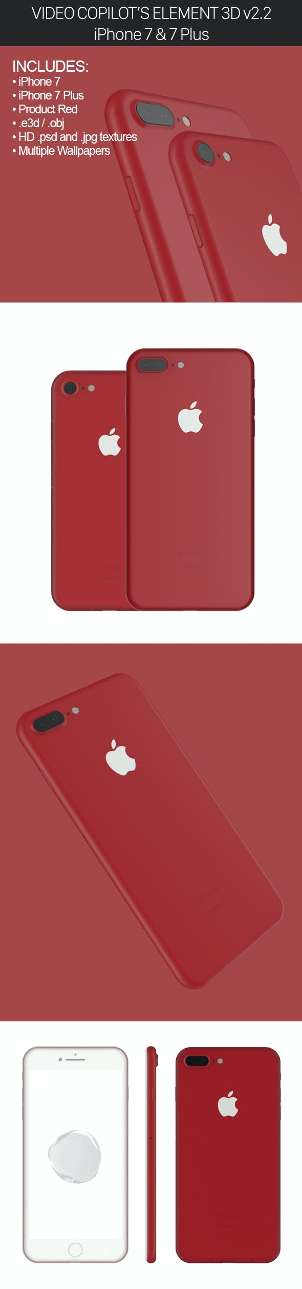 Element3D V2 2 iPhone 7 and 7 Plus Product Red by Mr-Matt