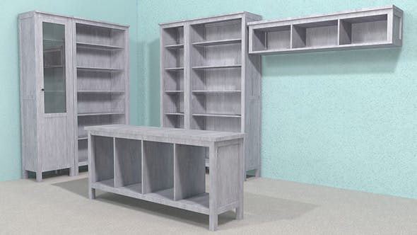Cabinet + console table + shelf 3D Model - 3DOcean Item for Sale
