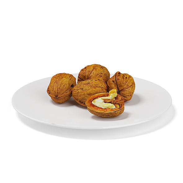 Walnuts on White Plate - 3DOcean Item for Sale