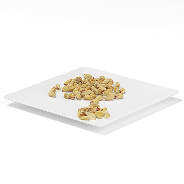 Pistachios on White Plate