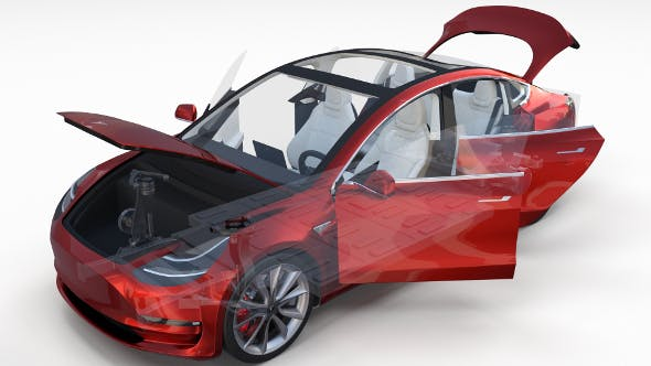 Tesla Model 3 Red with interior and chassis - 3DOcean Item for Sale