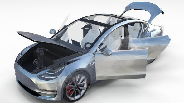 Tesla Model 3 Silver with interior and chassis - 3DOcean Item for Sale