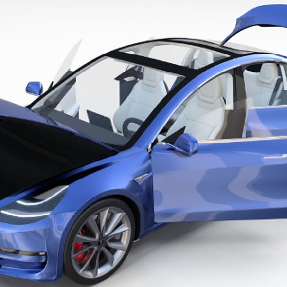 Tesla Model 3 with interior