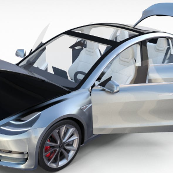 Tesla Model 3 Silver with interior