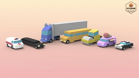 Low Poly Utility Vehicles - 3DOcean Item for Sale
