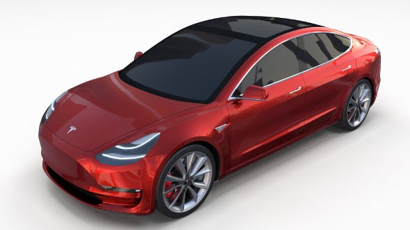 Tesla Model 3 Red - 3DOcean Item for Sale