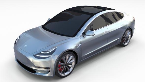Tesla Model 3 Silver - 3DOcean Item for Sale