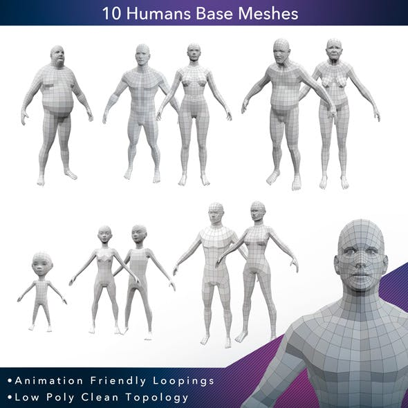 10 Humans Base Meshes