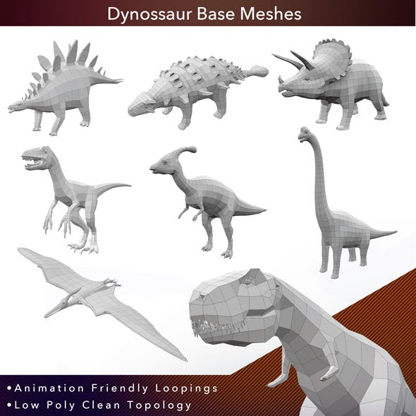 8 Dinosaurs Base Meshes