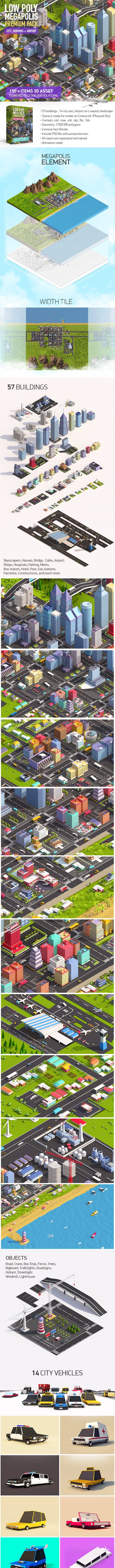Low Poly Megapolis City Premium Pack (Landscape, Buildings, Airport) - 3DOcean Item for Sale