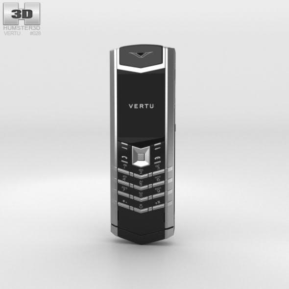 Vertu Signature Stainless Steel Black Leather - 3DOcean Item for Sale