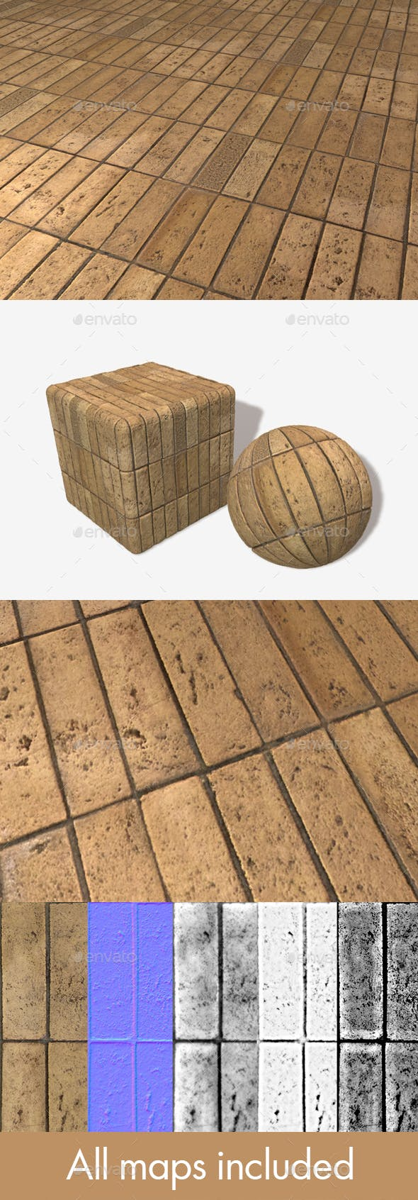 Uniform Brick Tiles Seamless Texture - 3DOcean Item for Sale