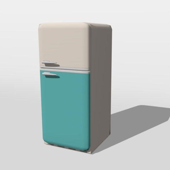 Cute low-poly retro fridge