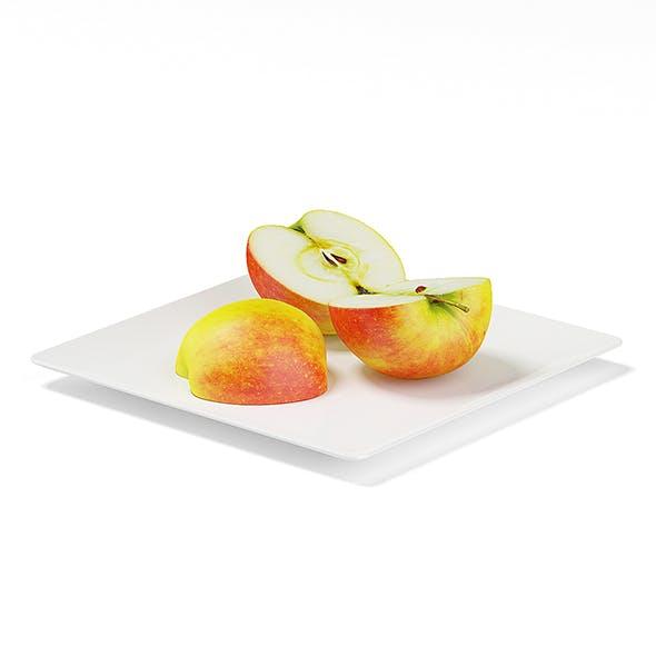 Sliced Apples on White Plate - 3DOcean Item for Sale