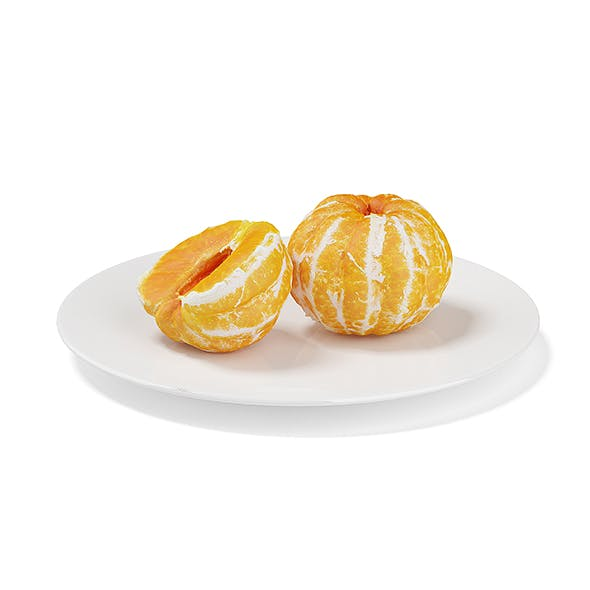 Peeled Tangerines on White Plate - 3DOcean Item for Sale