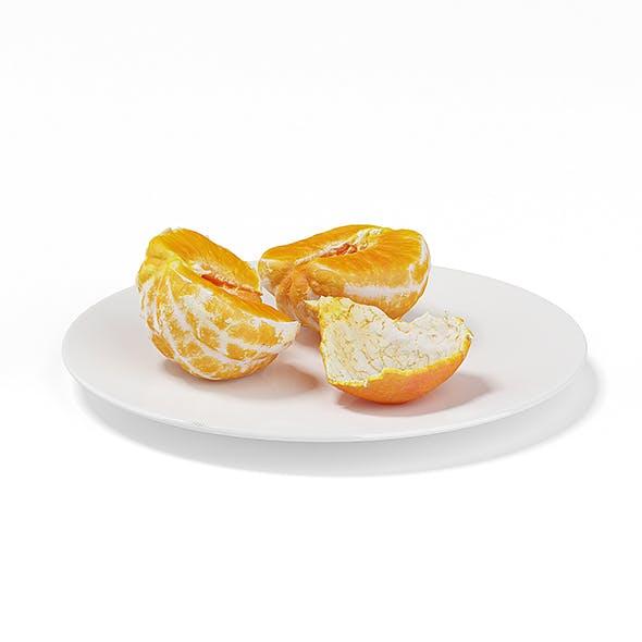 Halved Tangerine on White Plate