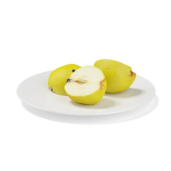 Sliced Quinces on White Plate - 3DOcean Item for Sale