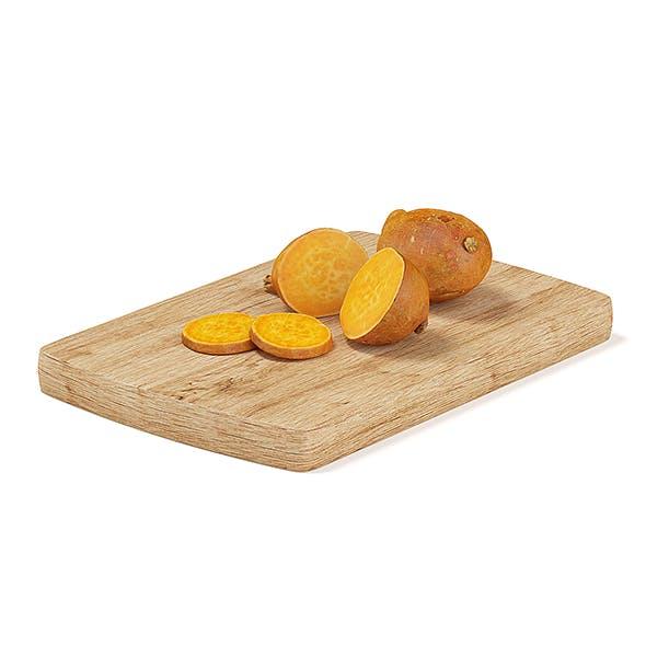 Sliced Yams on Wooden Board