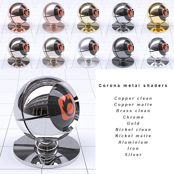 Corona 1.5 Shaders - Metal collection - 3DOcean Item for Sale