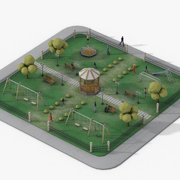 Urban Park Block - 3DOcean Item for Sale