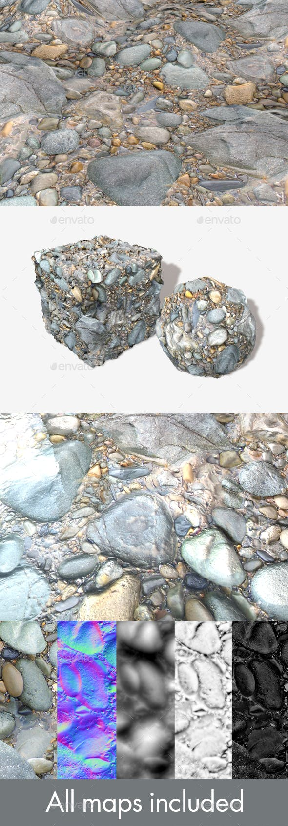 Rocky Wet Beach Seamless Texture - 3DOcean Item for Sale