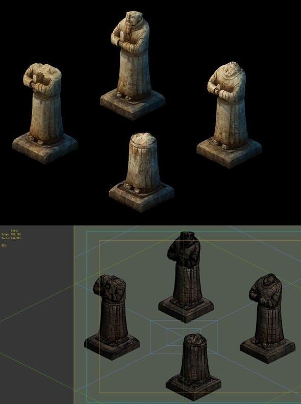 Game model - Broken hero stone carving - 3DOcean Item for Sale