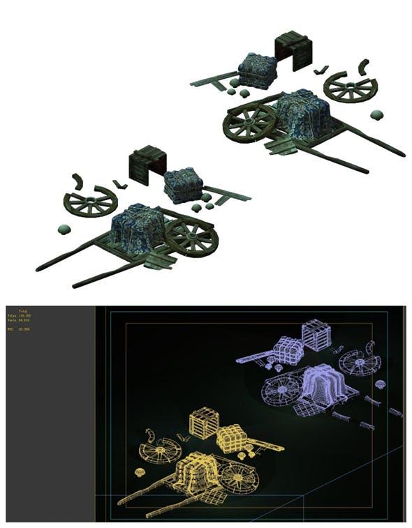 Game Models - Broken Wagons - 3DOcean Item for Sale