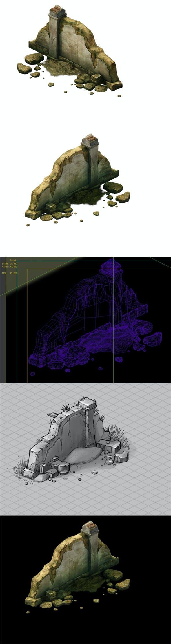 Game Model - Broken Stone Wall 01 - 3DOcean Item for Sale