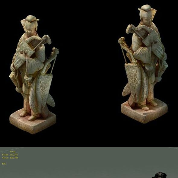 Game model - holding a bow stone statue