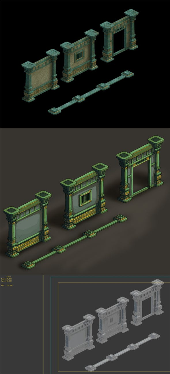 Game Model - Palace Palace gorgeous palace wall 1 - 3DOcean Item for Sale