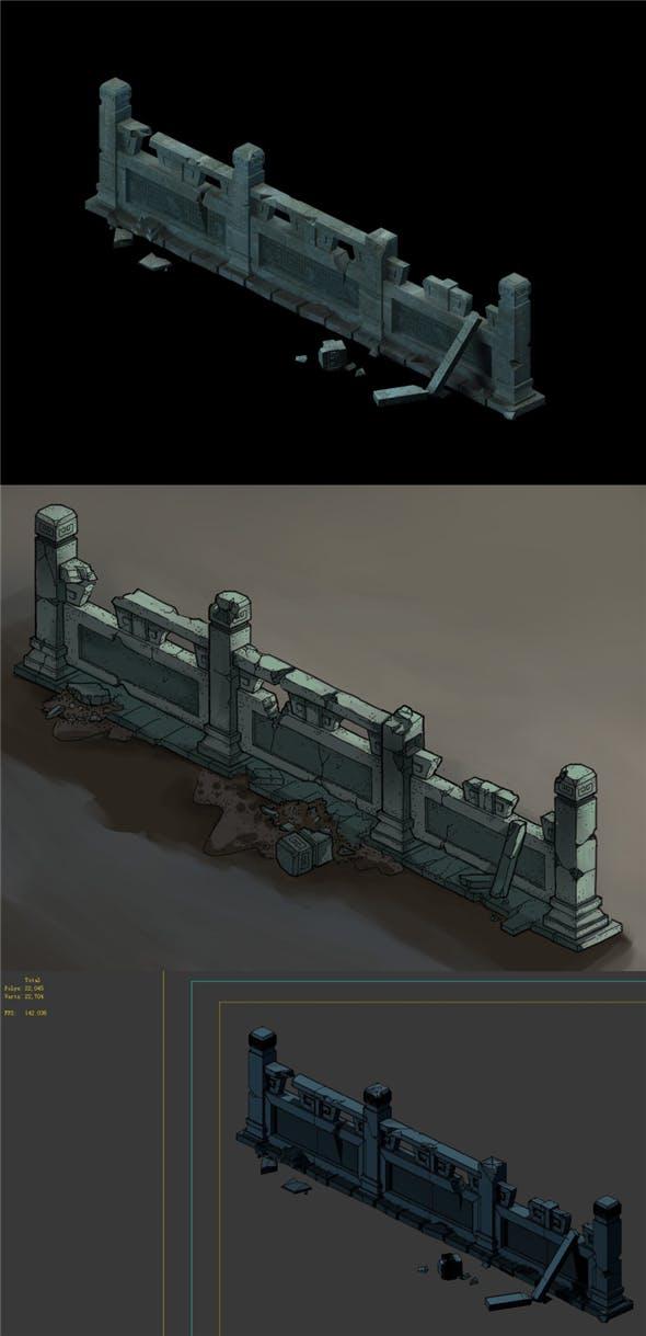 Game Model - Ghetto Area Broken Platform Fence 1 - 3DOcean Item for Sale