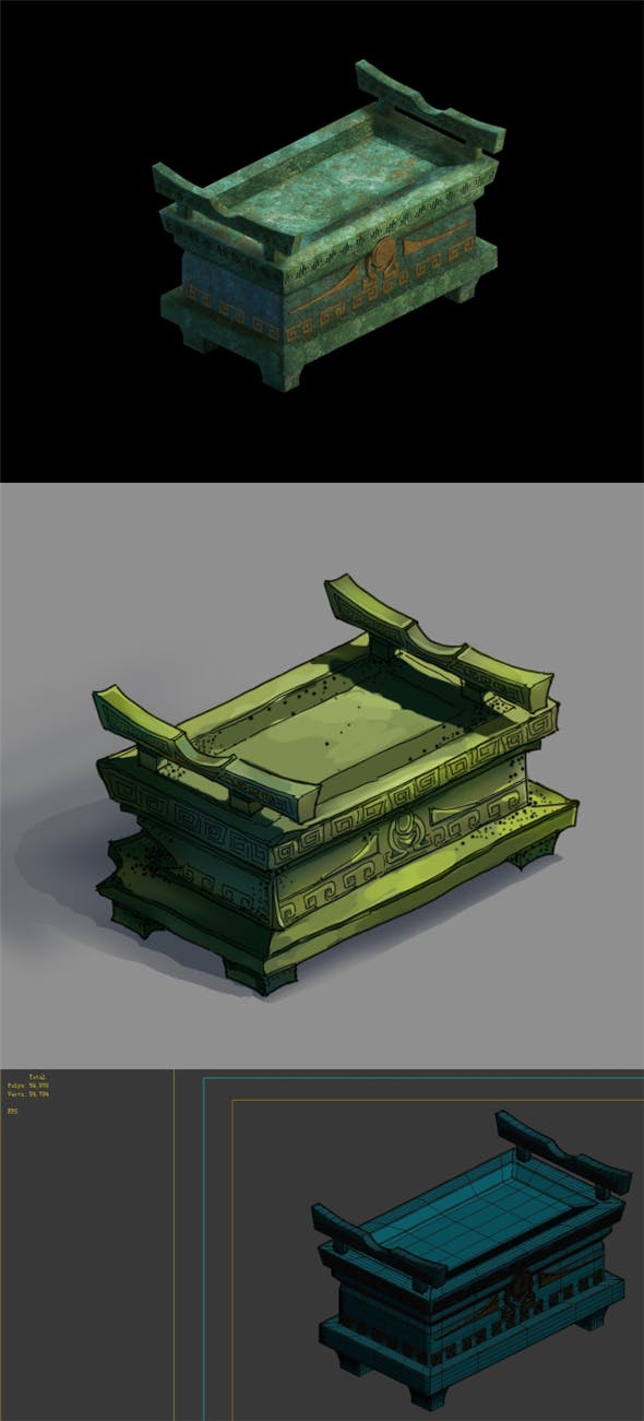 Game Model - Underground Palace Bronze Box - 3DOcean Item for Sale