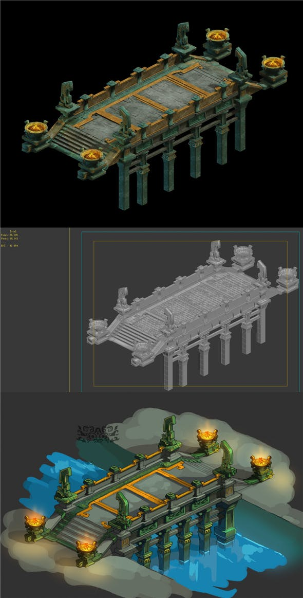 Game Model - Bronze Connection Bridge Design of - 3DOcean Item for Sale